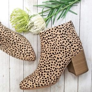 New Leopard Chunky Heel Ankle Boots Booties